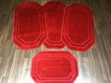 ROMANY GYPSY WASHABLES SETS OF 4 REGULAR SIZE 75x125CM MATS PLAIN RED NON SLIP